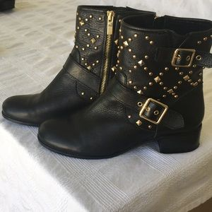 Black Leather Moto Boots